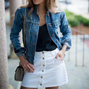 J. CREW Button Front Denim Skirt White {J22}